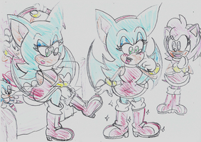Sonic tries on Amy's boots by ClassicSonicSatAm