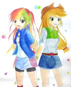 Rainbow Dash and Applejack by Aria-project