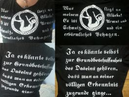 Handpainted shirt - Nietzsche quotes by formerselves
