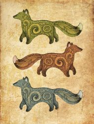 Three foxes design by hontor