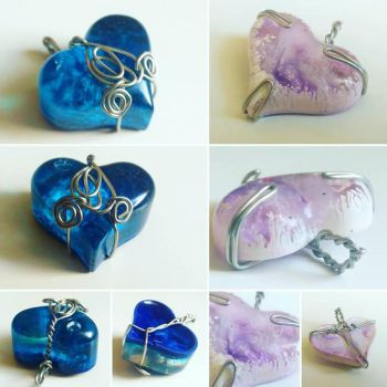 Resin Hearts - Blue swirls and simple purple by Coco-flame