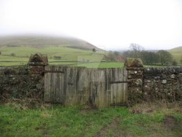 Gate and ghostly hill by Spinneyhead