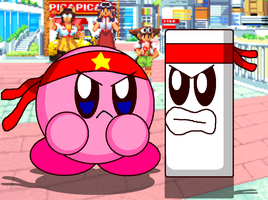 Fighter Kirby vs Bouns Kun by cuddlesnam