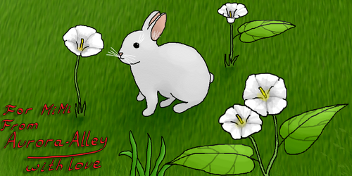 Bunny and bindweed flowers by Aurora-Alley