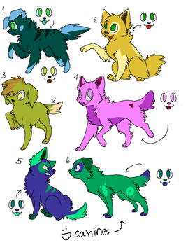 hey look! dog adopts! by WolveFalcoAdoptables