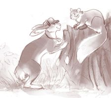 Hare and squirrel by Kessavel-art
