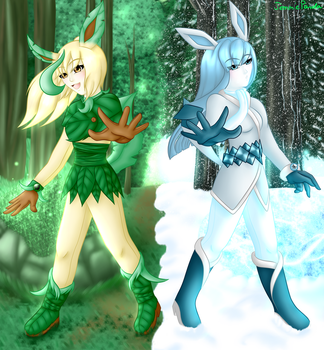 Leafeon and Glaceon Gijinkas by TemmieVega1999