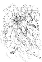 Commission Combo2: Emma Frost Pheonix Five by MatiasSoto