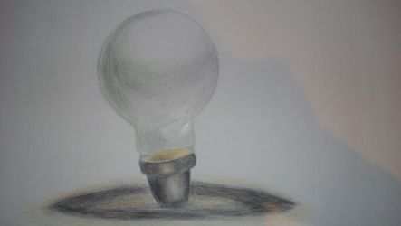 Lightbulb in colour pencils by Amzypop