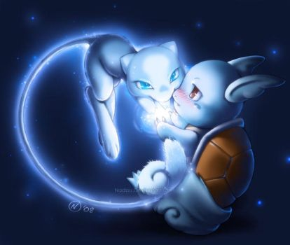 Shiny Mew and Wartortle by Nadou