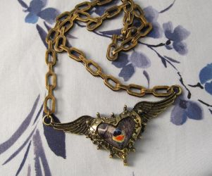 One of a kind Steampunk  heart necklace by emmadreamstar