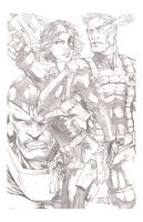 Domino and Cable pencils by hanzozuken