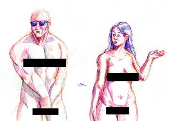 Daily Sketch: What's With The Shades?(censored) by Hunchy