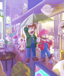 Mario cityscape sketch by themeisterart