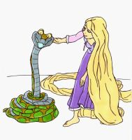 When Kaa Met Rapunzel (Request) by perfect-fairytale