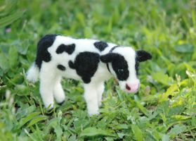 Needle Felted Baby Cow or Calf by amber-rose-creations