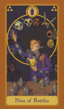Legend of Tarot - 9 of Bottles by TheMightyPegasus