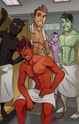 Monster Boys Locker Room by micahdraws