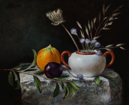 Porcelain and fruits by marcheba