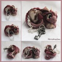Pearly Pink Heart Lock And Key Dragon by BittyBiteyOnes