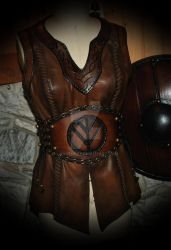 viking leather tunic and belt custom order by Lagueuse