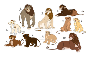 Lion Pack Adoptables #1 (CLOSED) by 18Gingasoldier