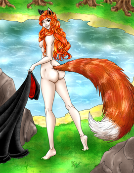 Kitsune girl by draks