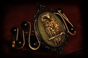 Neo Victorian Goth Owl Bracelet by CatherinetteRings