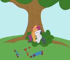 Rumble and Scootaloo sitting in a tree.. by Elslowmo
