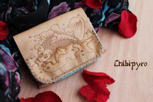 Leather Wallet Koi Fish by ChibiPyro