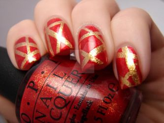 Red and Gold Tape Mani by Animalluver1985