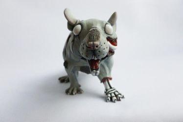 Large Zombie Rat Sculpture Finished by philosophyfox