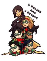 5 Robins and a Batgirl by gabzillaz