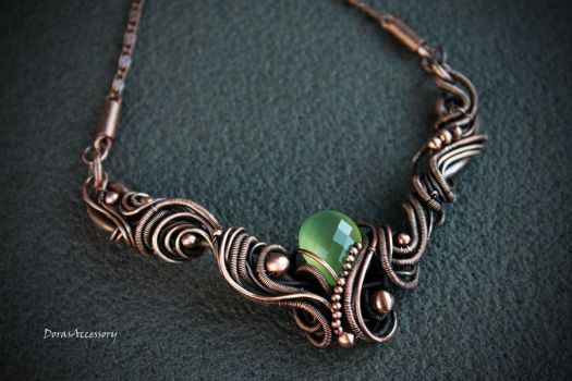 copper necklace with quartz by MDorothy