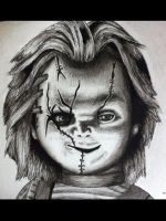 CHUCKY pen and ink drawing with watercolour by billyboyuk