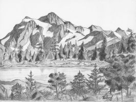 Mountains and lake by TaileenDenvers