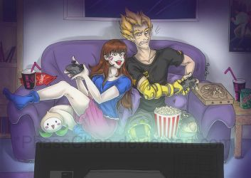 Games Night! D.Va and Junkrat by PhaseChan
