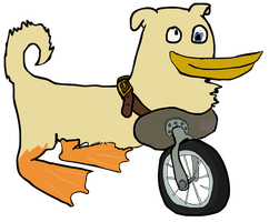 Unicycle... dog? ...duck? ...thing? by Vigorousjammer