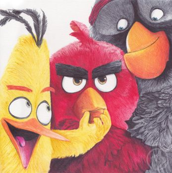 Angry Birds Ballpoint Pen Drawing by demoose21