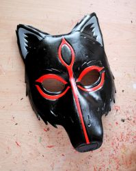 Amaterasu from Okami leather mask- black version by ShadowFoxLeatherwork