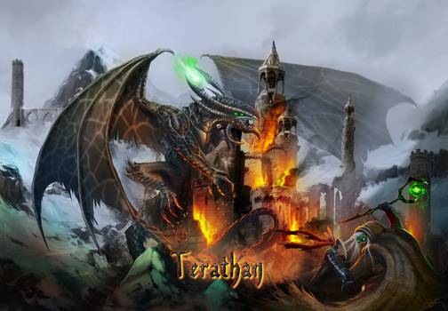 Terathan Full Size Image - Dragon castle seige by ebizcraftsman
