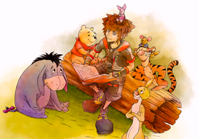 Sora and Pooh by makemyhomework