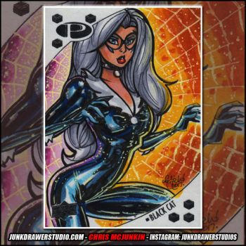 Marvel Premier Upper Deck Black Cat Sketch Card by ChrisMcJunkin