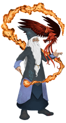 Dumbledore and Fawkes by i-am-mighty