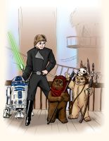 Luke Skywalker with Ewoks by JTampa