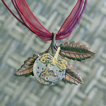 Steampunk Dragonfly Necklace by magpie-poet