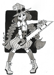 Inktober day 24: Chop + Steampunk Witch by Dalblauw