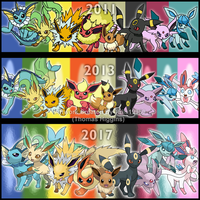 Eeveelutions Over The Years by Tails19950