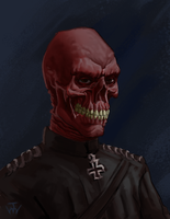 Red Skull Sketch by johnnymorrow