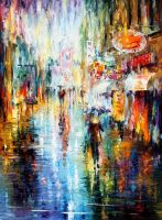 Long Rain by Leonid Afremov by Leonidafremov